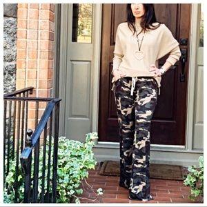 Camouflage side pocket soft wide leg pants